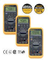 Fluke electrical meters and testers.