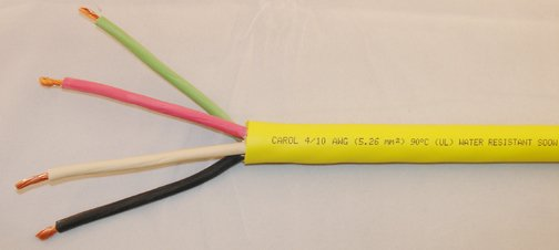 CABLE 10AWG 4-CONDUCTOR 600V YELLOW 10/4-SO-YELLOW