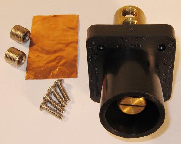 Male Panel Mount Receptacle Inlet Black 400a 600v
