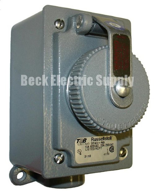 RECEPTACLE 20AMP 2P3W 250V FS RUSSELLSTOLL 3743-RS