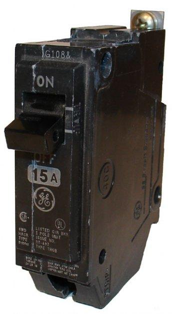 CIRCUIT BREAKER 15A 1P 10KAIC GE (THQB1115)